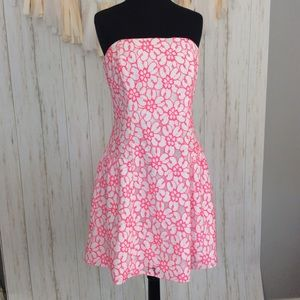 Lilly Pulitzer White and Hot Pink Flower Dress